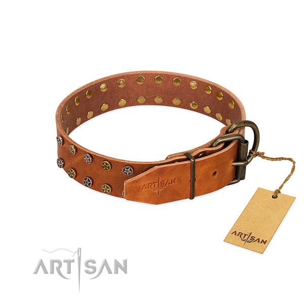 Easy wearing genuine leather dog collar with unusual decorations