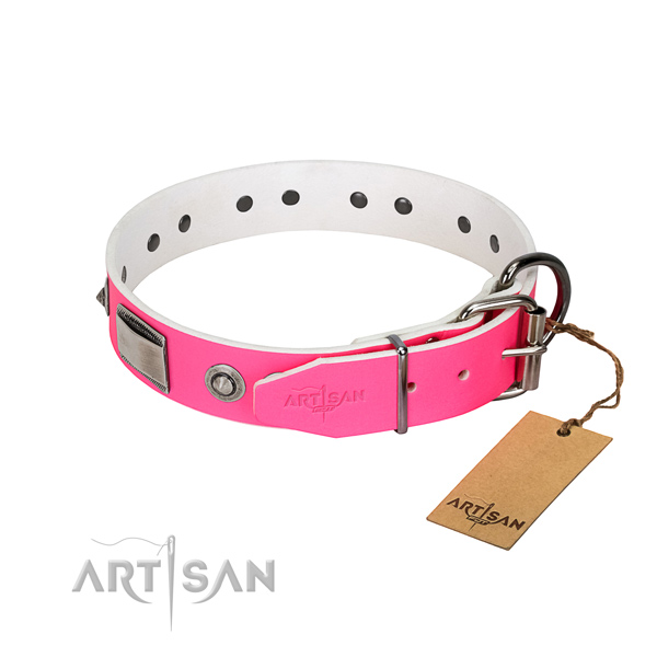 Adjustable dog collar of full grain genuine leather with embellishments