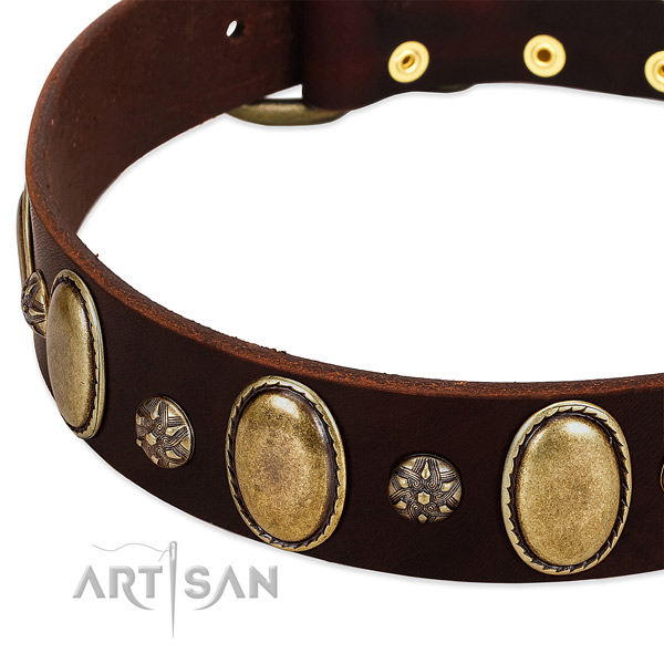 Comfortable wearing soft full grain natural leather dog collar