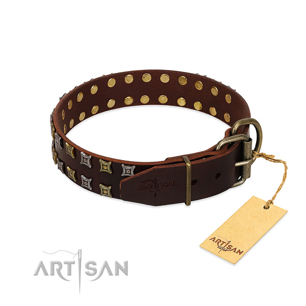 Soft to touch full grain leather dog collar created for your four-legged friend