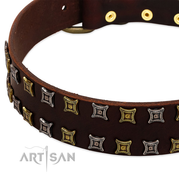 Soft to touch natural leather dog collar for your handsome four-legged friend