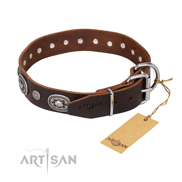 Reliable full grain leather dog collar crafted for comfortable wearing
