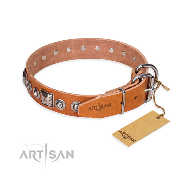 Natural genuine leather dog collar made of reliable material with rust-proof decorations