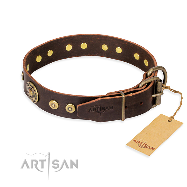 Full grain genuine leather dog collar made of flexible material with rust-proof embellishments