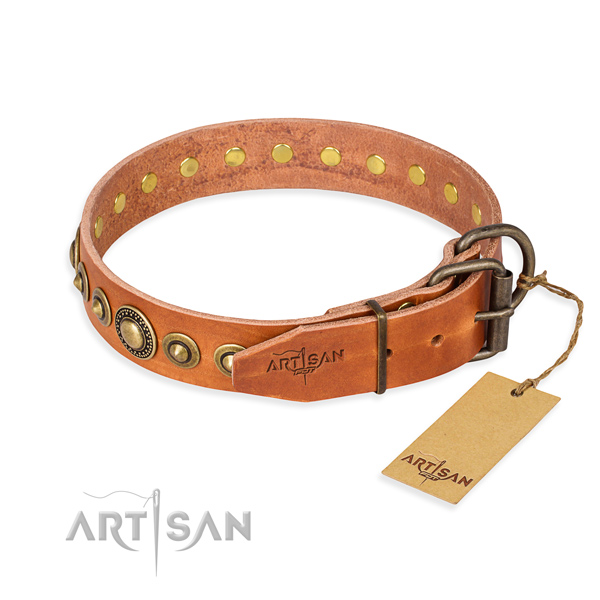 Best quality leather dog collar created for easy wearing