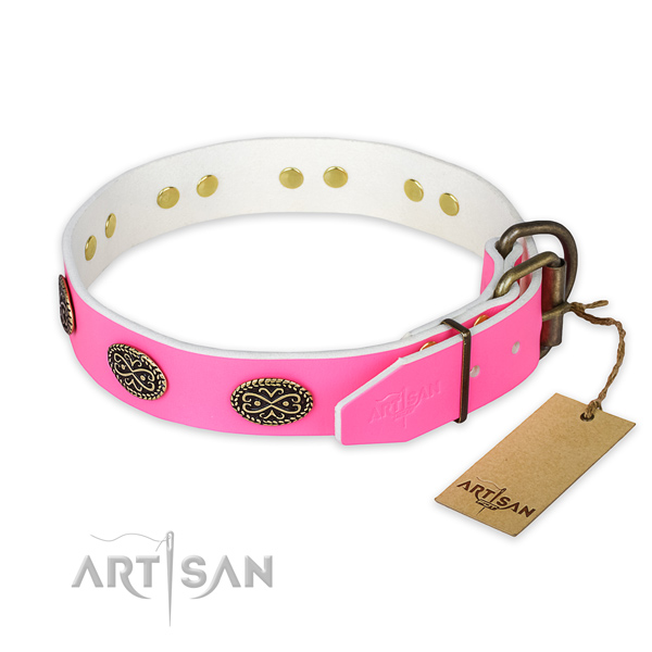 Corrosion resistant embellishments on comfortable wearing dog collar