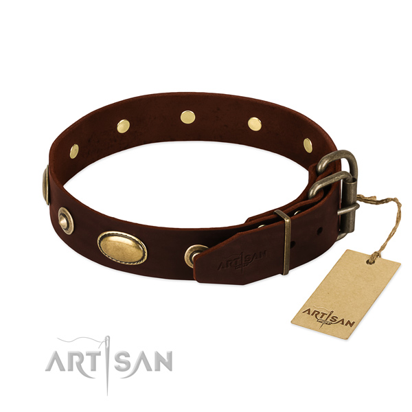 Rust-proof D-ring on natural leather dog collar for your pet