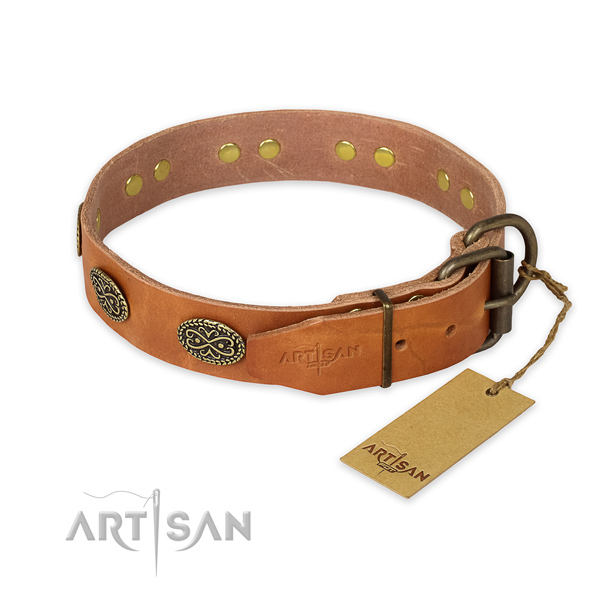 Rust-proof fittings on natural genuine leather collar for basic training your pet