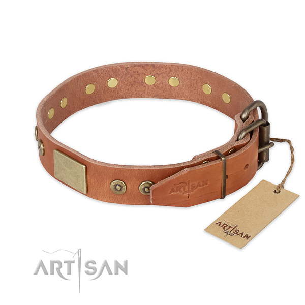 Corrosion resistant D-ring on genuine leather collar for fancy walking your pet