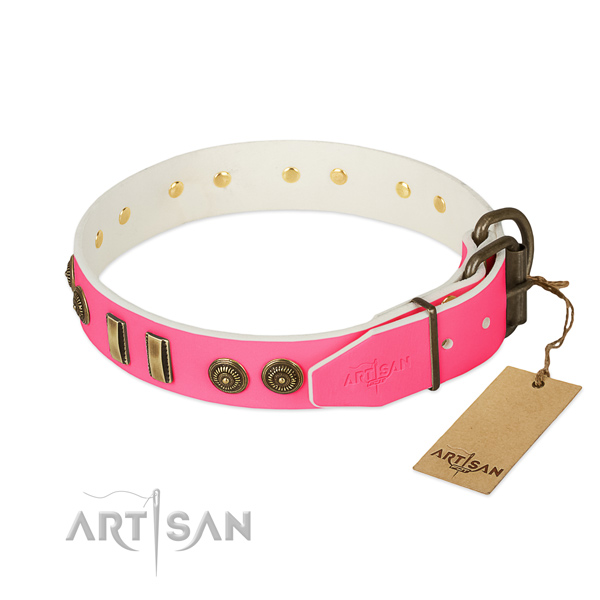 Corrosion proof hardware on full grain natural leather dog collar for your pet
