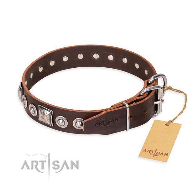 Genuine leather dog collar made of high quality material with rust-proof adornments