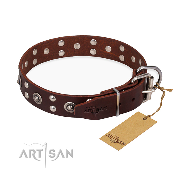 Rust resistant fittings on full grain natural leather collar for your beautiful canine