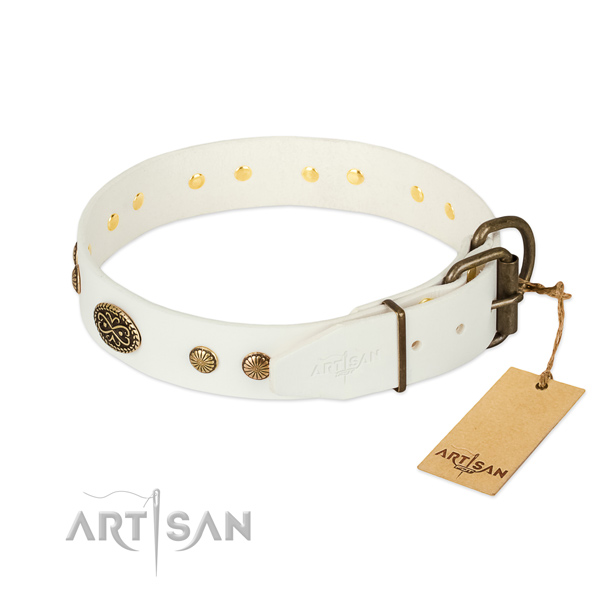 Rust-proof traditional buckle on natural leather dog collar for your canine