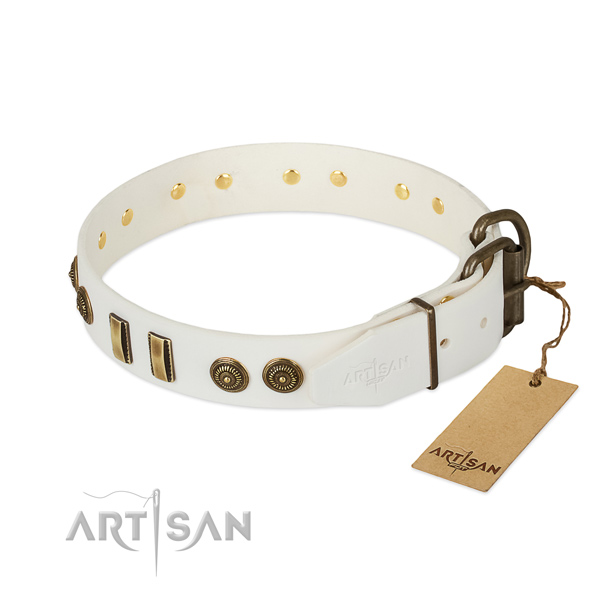 Strong hardware on full grain leather dog collar for your four-legged friend