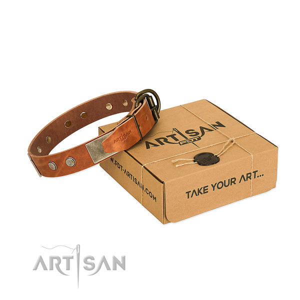 Durable hardware on dog collar for comfortable wearing