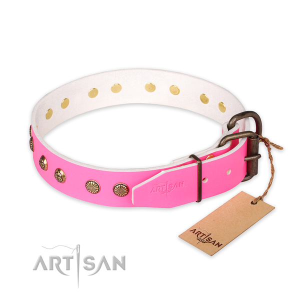 Durable D-ring on natural genuine leather collar for your stylish doggie