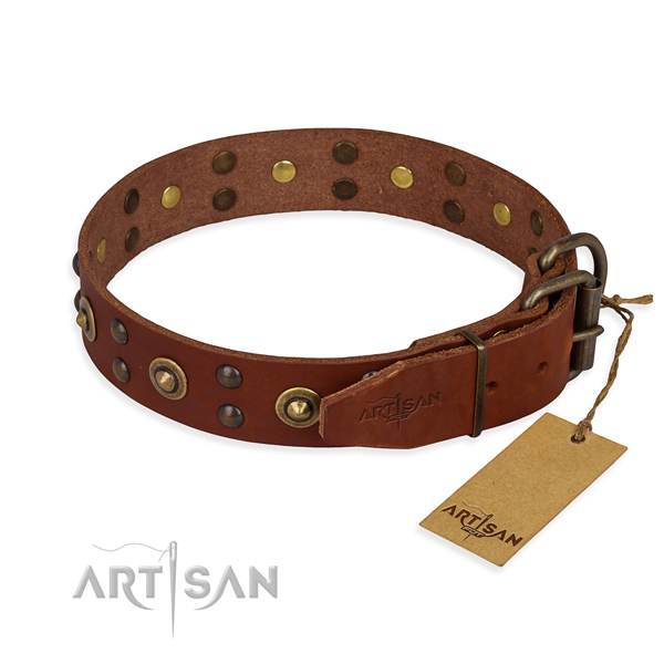 Rust resistant traditional buckle on genuine leather collar for your lovely canine