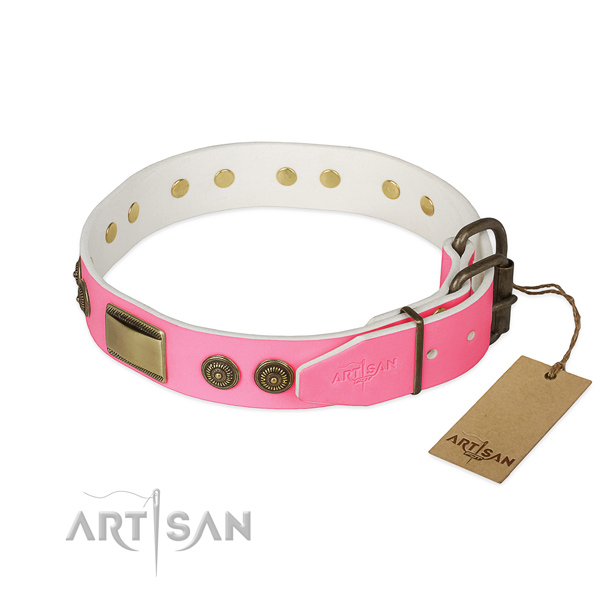 Durable D-ring on handy use dog collar