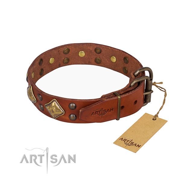 Genuine leather dog collar with unusual reliable studs