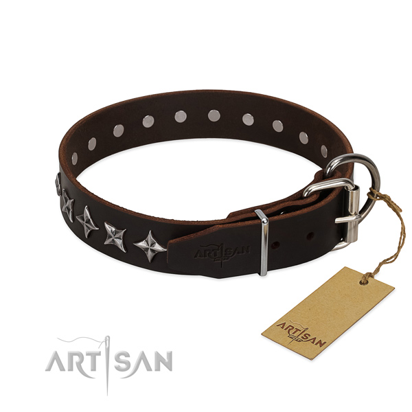 Comfy wearing embellished dog collar of best quality leather