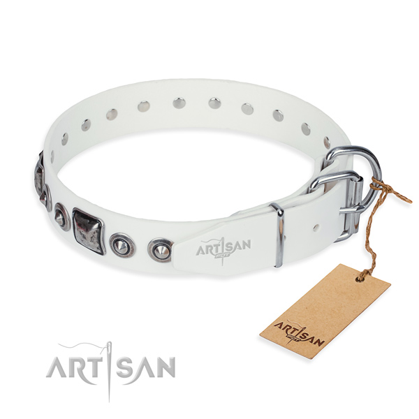 Gentle to touch full grain natural leather dog collar created for everyday use