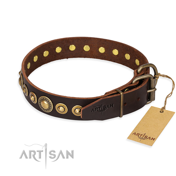 High quality full grain natural leather dog collar made for comfy wearing