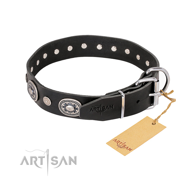Soft natural genuine leather dog collar handmade for walking