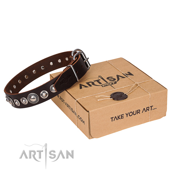 Natural genuine leather dog collar made of top notch material with corrosion proof buckle