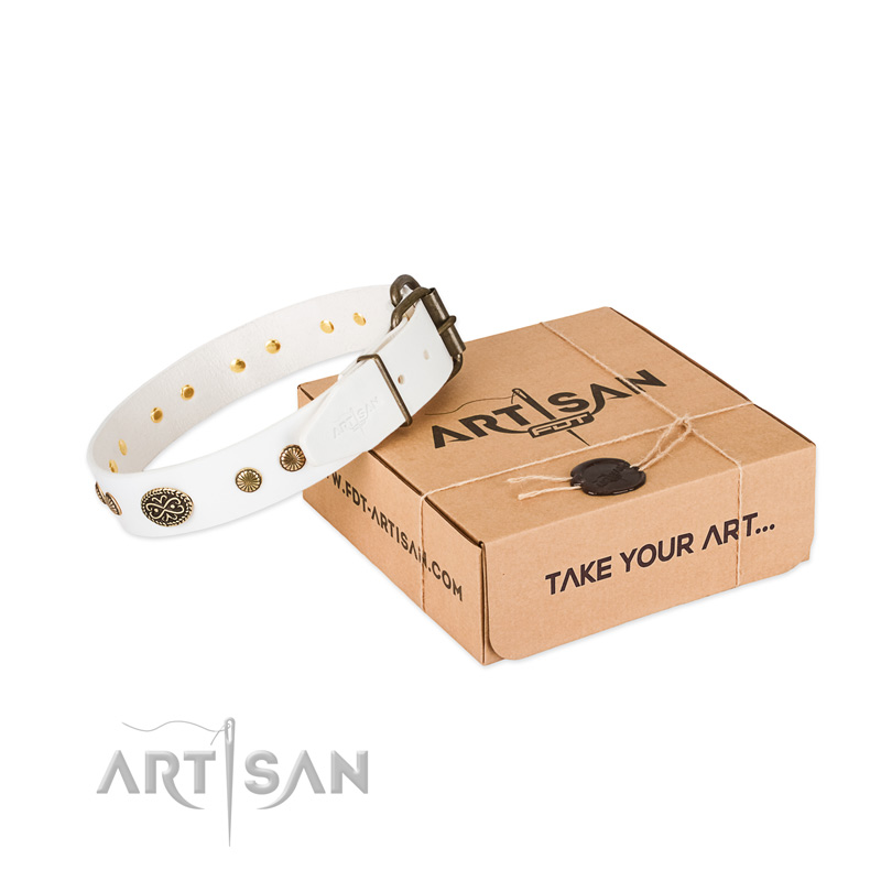 Durable hardware on natural leather dog collar for your pet