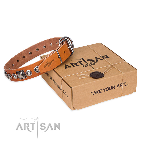 Full grain leather dog collar made of best quality material with corrosion resistant fittings