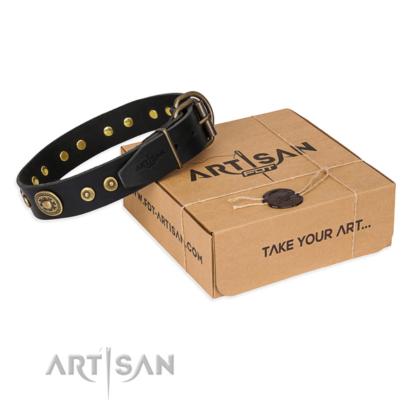 Leather dog collar made of soft material with durable hardware