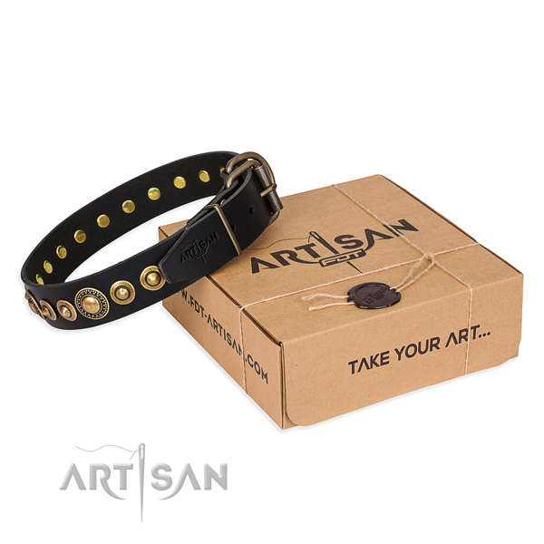 Top notch leather dog collar created for comfy wearing