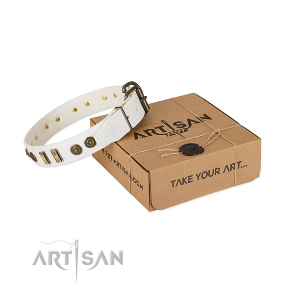 Strong traditional buckle on natural leather dog collar for your pet