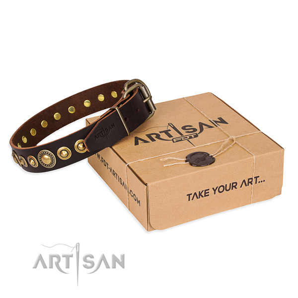 Soft full grain natural leather dog collar made for comfortable wearing