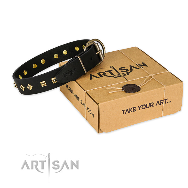 Rust-proof hardware on genuine leather collar for your handsome doggie