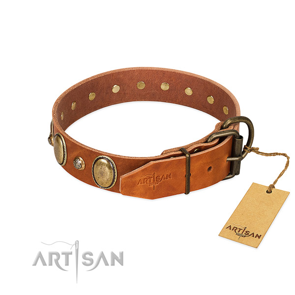 Adjustable genuine leather dog collar with strong hardware