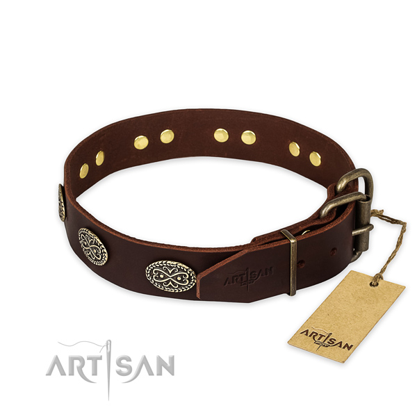 Durable hardware on full grain leather collar for your attractive dog