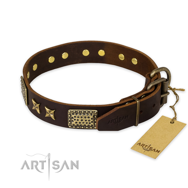 Corrosion proof D-ring on full grain leather collar for your stylish pet