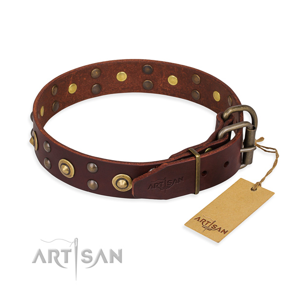 Rust resistant fittings on full grain natural leather collar for your attractive pet