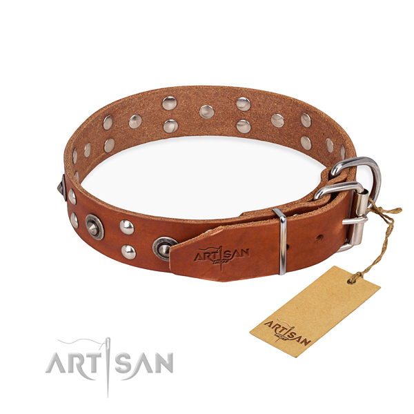 Corrosion proof D-ring on genuine leather collar for your beautiful canine