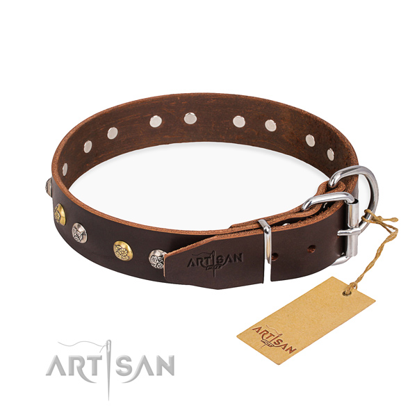 Soft full grain genuine leather dog collar handmade for comfortable wearing