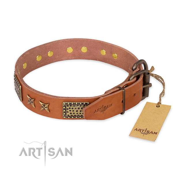 Rust resistant D-ring on full grain natural leather collar for your handsome pet
