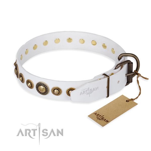 Soft to touch natural genuine leather dog collar handcrafted for easy wearing