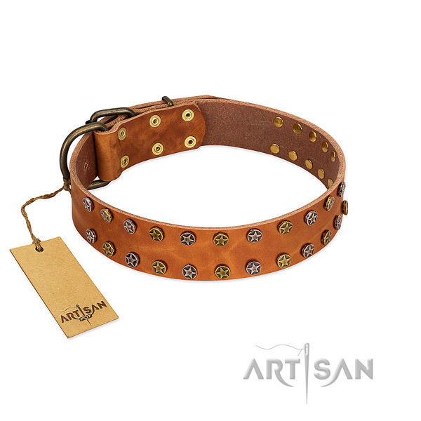 Handy use gentle to touch full grain natural leather dog collar with embellishments