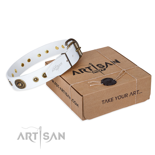 Leather dog collar made of gentle to touch material with rust resistant D-ring