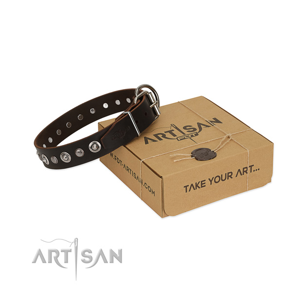 Durable full grain genuine leather dog collar with impressive decorations