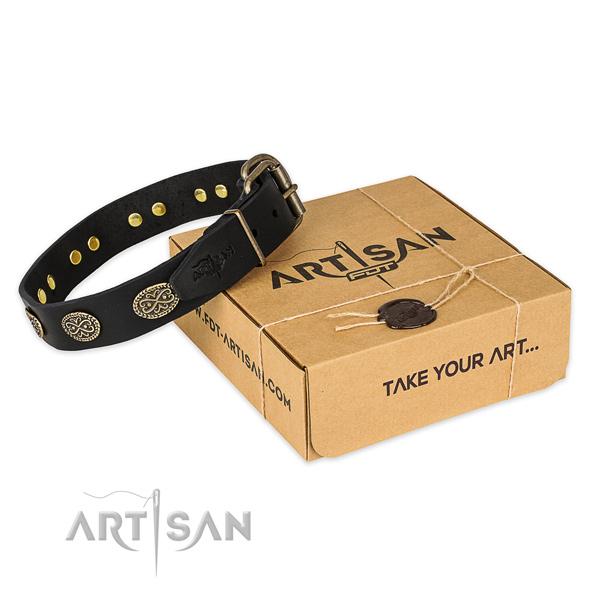 Reliable D-ring on full grain leather collar for your impressive canine
