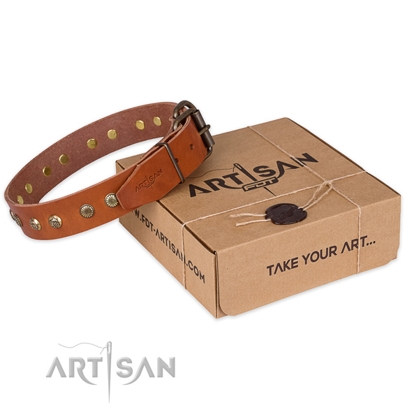 Rust-proof D-ring on genuine leather collar for your attractive dog