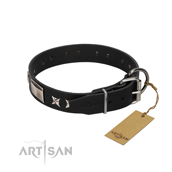 Reliable natural leather dog collar with corrosion proof buckle