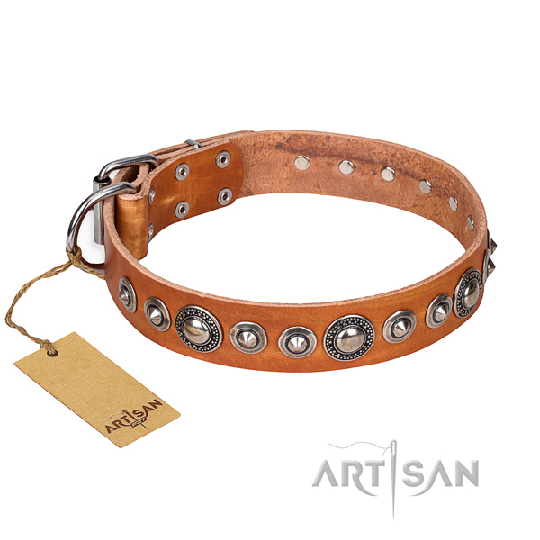 Leather dog collar made of quality material with corrosion resistant traditional buckle